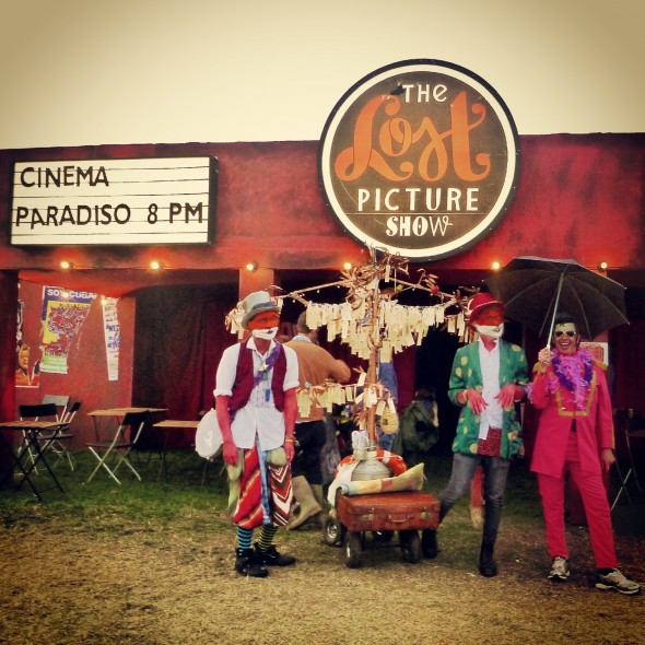 Fox musicians with Elvis outside The Last Picture Show cinema at Shambala Festival with the Band4Hope Tree4Hope 2012