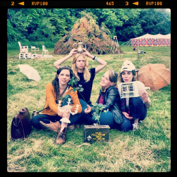 Girls posing for the Pinhole camera at In the Woods Festival