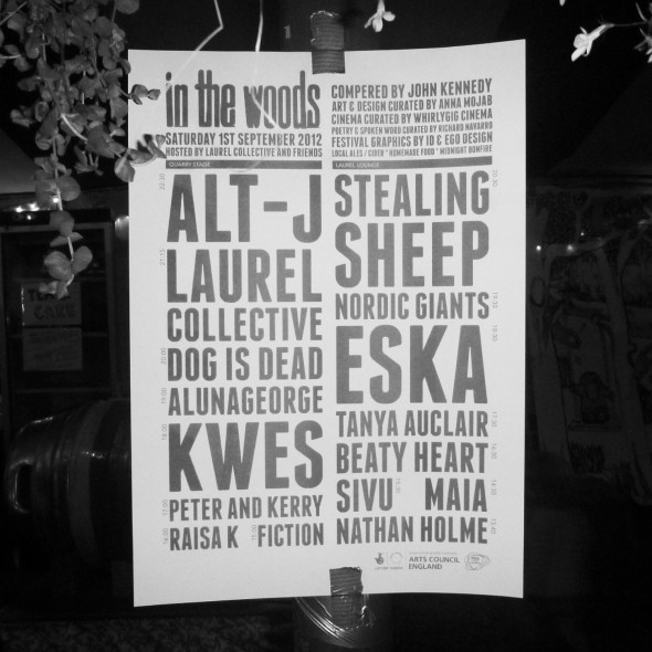 In the Woods Festival lineup 2012 poster