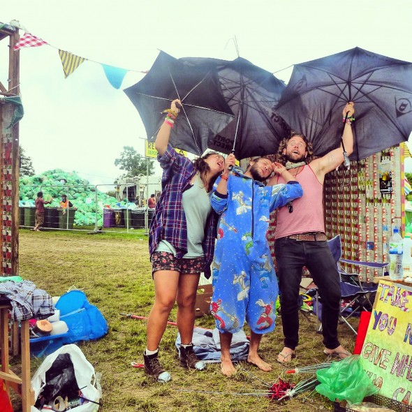 Lachlan McWilliam with eco-rangers Christopher Hardy and Steph Li of Upcycle at Shambala Festival 2012