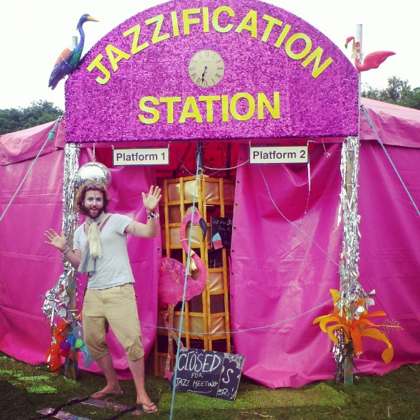 Lachlan outside the Jazzification Station at Shambala Festival 2012