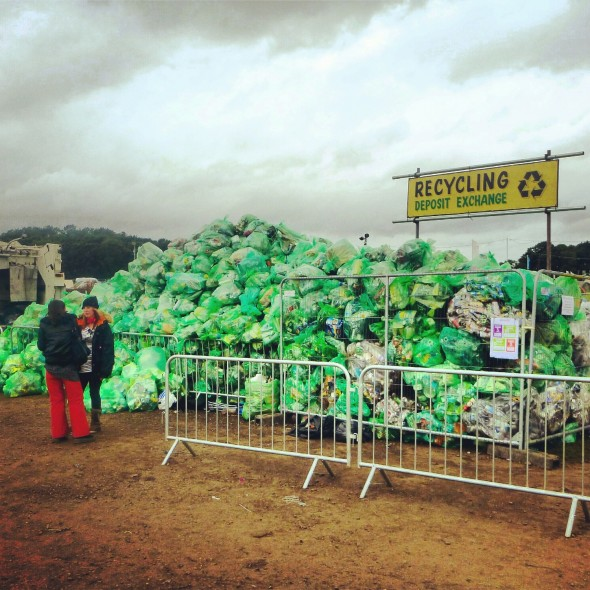 Pile of rubbish bags to be recycled at Shambala Festival 2012
