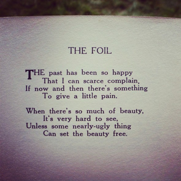 Poem called The Foil found in Portmeirion, North Wales
