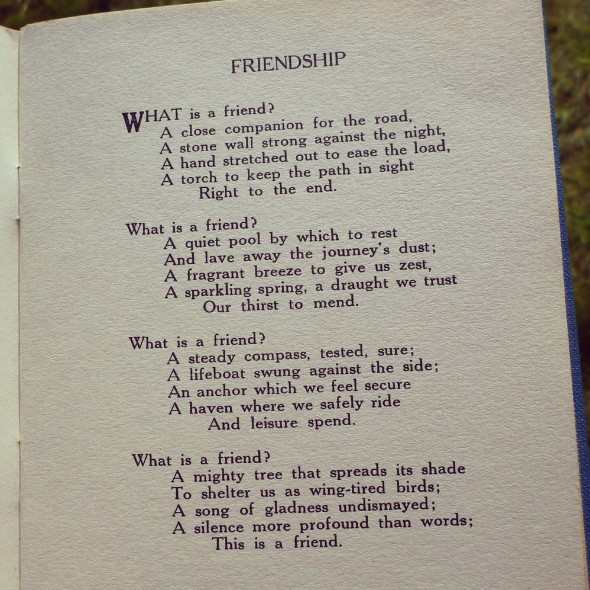 Poem on friendship found in Portmeirion, North Wales