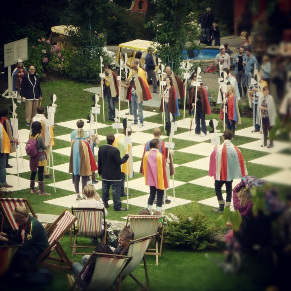 Reenacting human chess of The Prisoner television series at Festival Number 6 in Portmeirion Wales