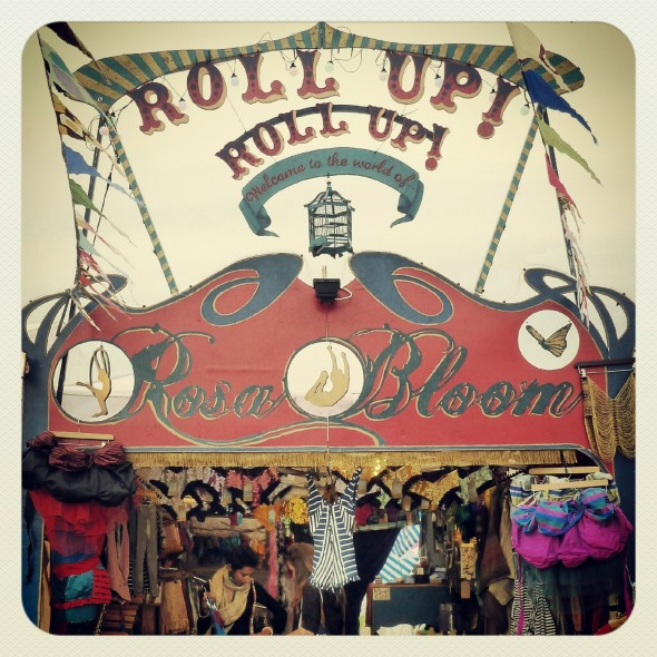 Rosa Bloom's shop front at Shambala Festival