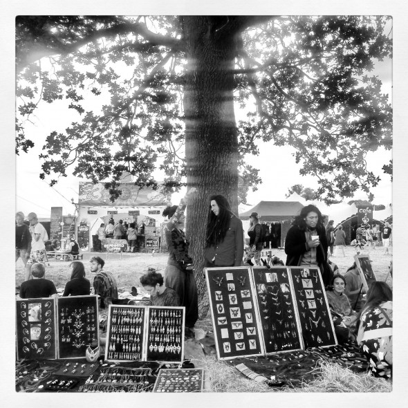 Runa handmade jewellery under a big tree at Shambala Festival