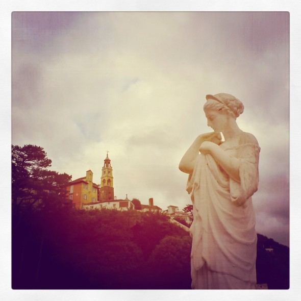 Statue overlooking the villiage at Festival Number 6 in Portmeirion Wales