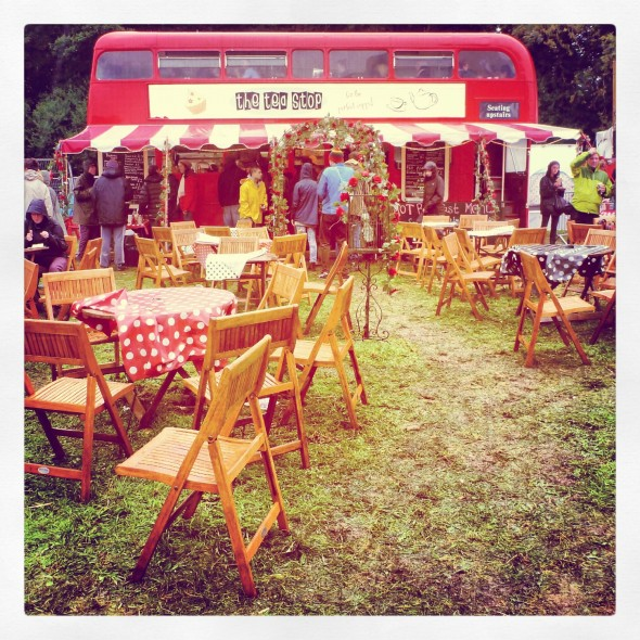 The Tea Stop double decker bus at Festival Number 6 in Portmeirion Wales