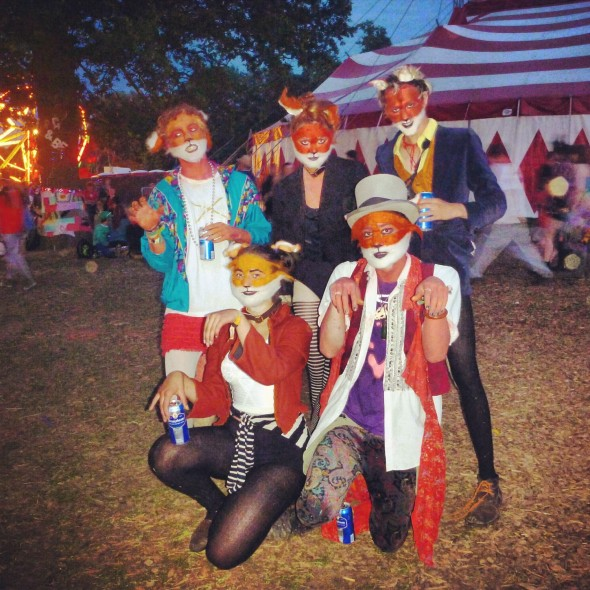 The musician foxes posing at Shambala Festival 2012