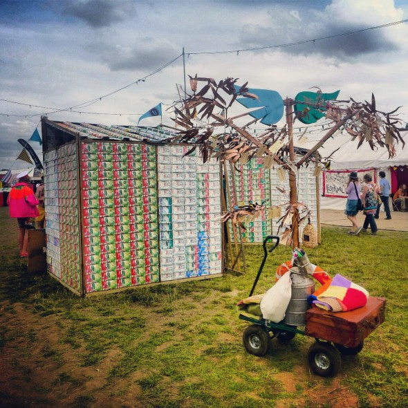 Upcycle Tetra Pak Tetrashacks Tetrashaks at Shambala Festival with the Band4Hope Tree4Hope
