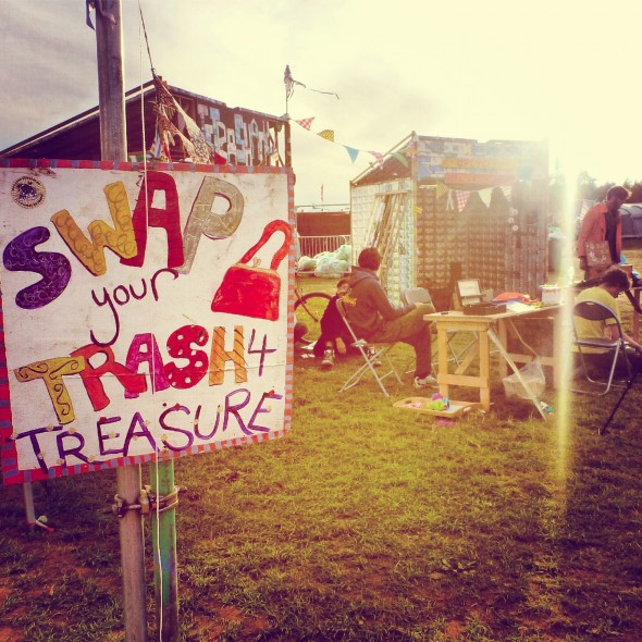 Upcycle sign 'Swap your trash for treasure' at Shambala Festival